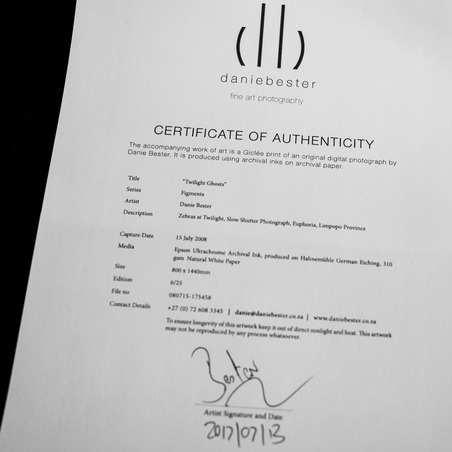 All prints are accompanied by a unique certificate of authenticity